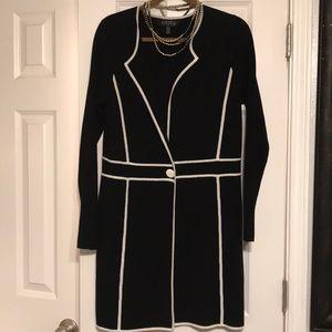 Kasper black sweater with white trim